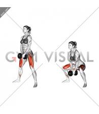 Dumbbell Bar Grip Sumo Squat (female)