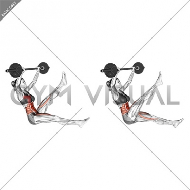 Barbell Sitted Alternate Leg Raise (female)