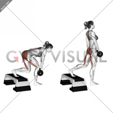 Dumbbell Single Leg Deadlift with Stepbox Support (female)