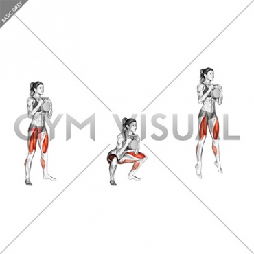 Kettlebell Goblet Squat Jump (female)