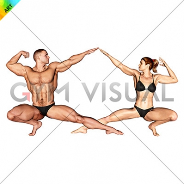 Bodybuilding pose male-female