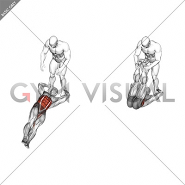 Assisted Lying Leg Raise With Lateral Throw Down
