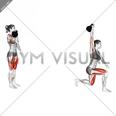 Kettlebell Forward Lunge and Press (female)