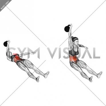 Kettlebell Single Arm Sit-Up (female)