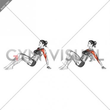 Seated Shoulder Flexor Depresor Retractor Stretch Bent Knee (female)
