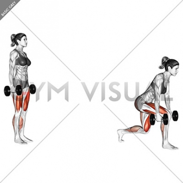 Dumbbell forward leaning lunge