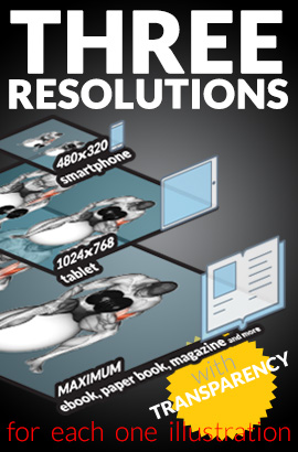 Three resolutions - smartphone, tablet and maximum sizes